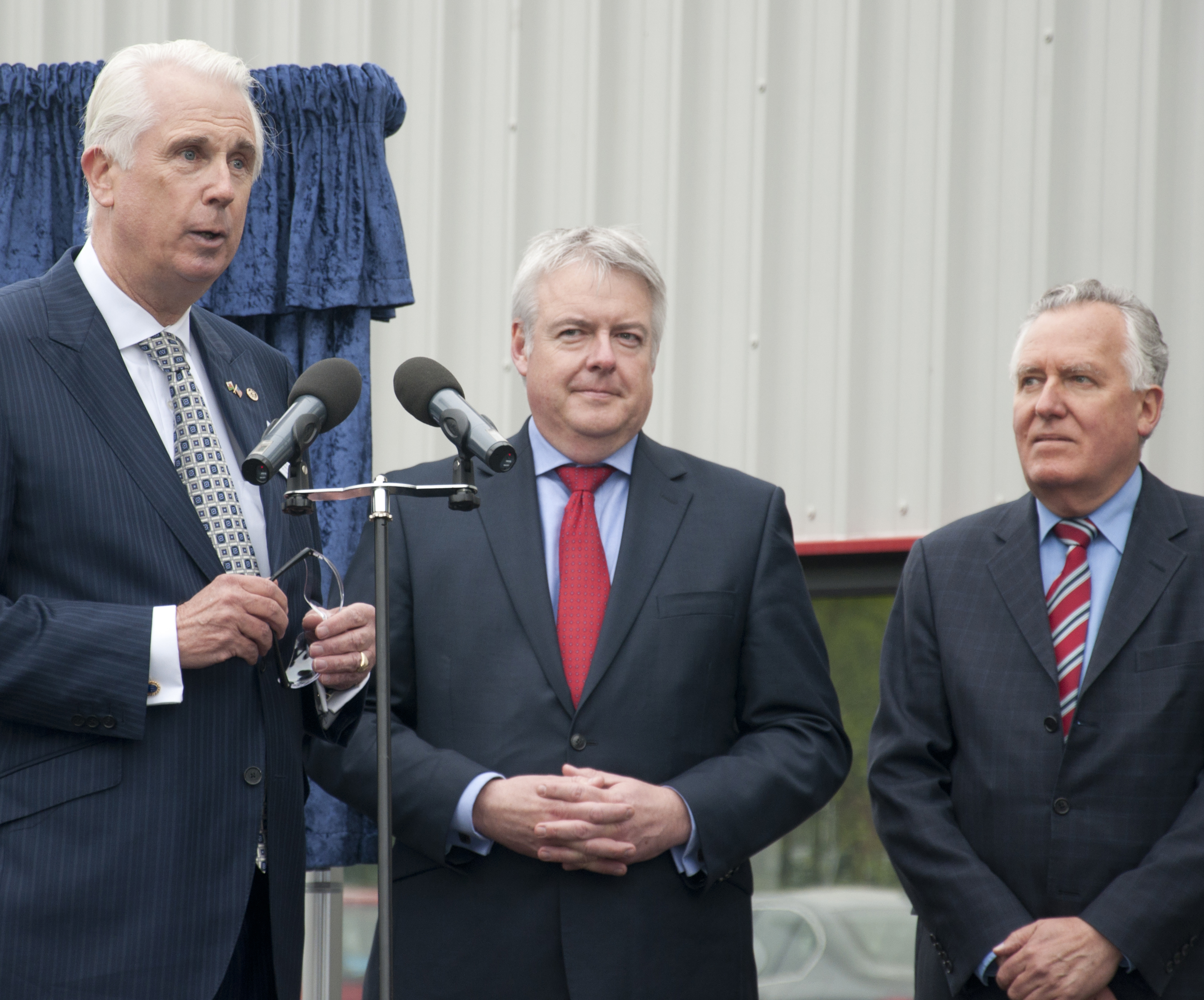 Pictured from left, BillClark, WallColmonoy Chairman & CEO, First Minister, Rt. Hon. Carwyn Jones M.P, Peter Hain, M.P, Neath