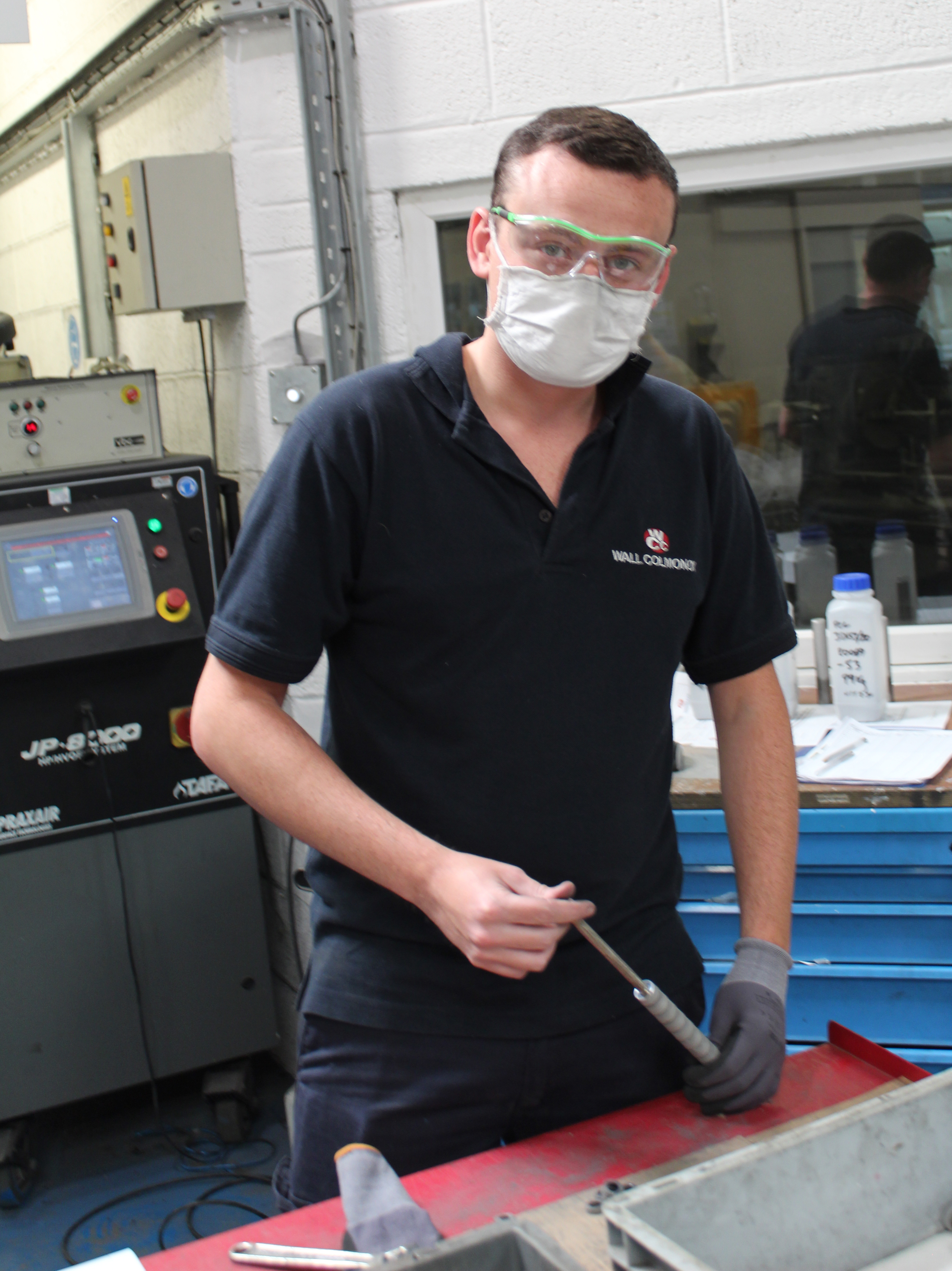 Chris Adey in Aerobraze UK processing components ready for Tungsten Carbide coating applied by HVOF.