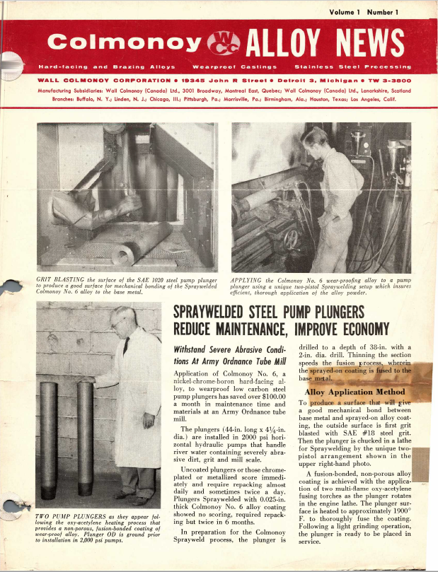Colmonoy Alloy News - Vol 1, N1 - 1956 cover- Steel Pump Plugers
