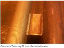 close up of Colmonoy 88 laser clad on boiler tube