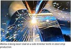Wallex 6 being laser clad on a side trimmer knife in steel strip production