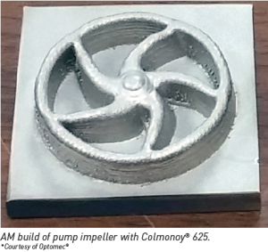 AM bulid of pump impeller with colomony