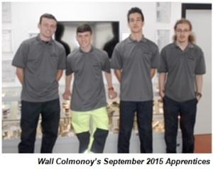 Wall Colmonoy's September 2015 Apprentices