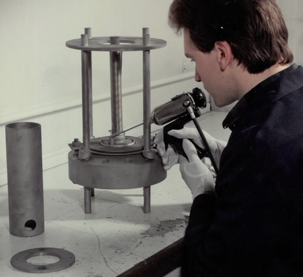 Nicrobraz being applied to a Hydrogen Detector Body for British Nuclear Fuels (Nuclear Component)- Late 1970s- (WCL)